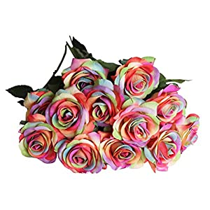ALIERSA 12 Rainbow Rose Artificial Wedding Flower Rose 9
