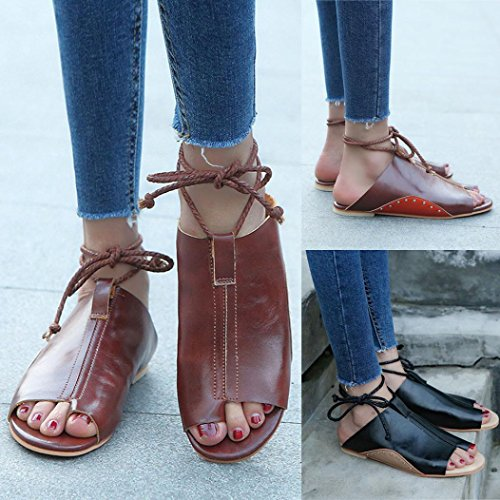 Bovake Summer Women Sandals, Large Size Sandals Flat-bottomed Roman Sandals Open Ankle Flat Straps Platform Wedges Shoes - Bohemia Heels Ladies Ankle Strap Buckle Footwear Flip Flop Sandal Black