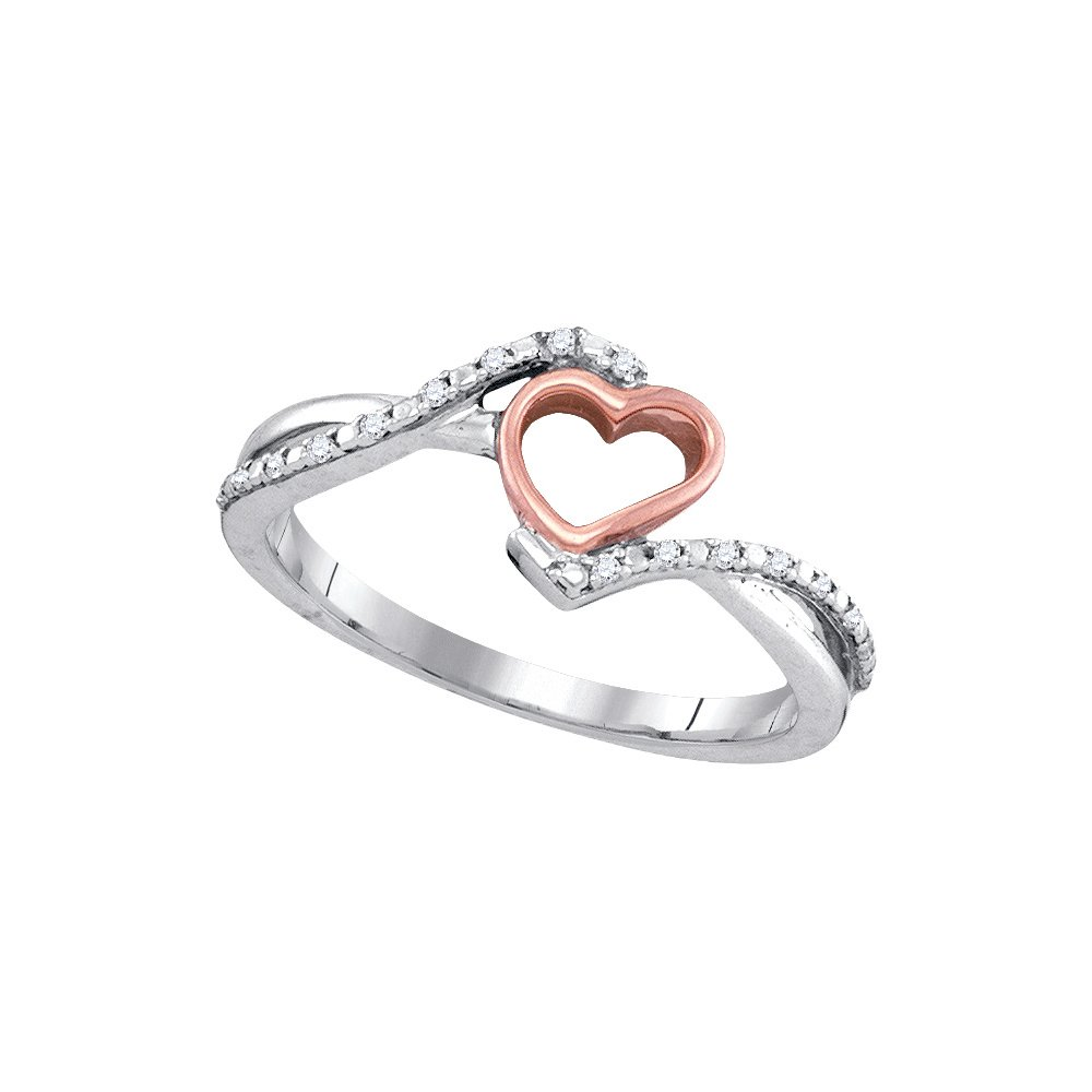 Jewels By Lux 10k White Gold Diamond 2-tone Pink Rose-tone Womens Teen Slender Heart Love Ring 1/12 Cttw (I2-I3 clarity; H-I color)