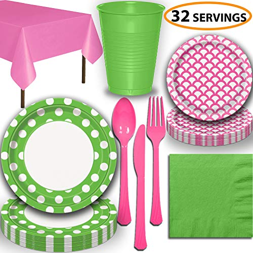 Disposable Tableware, 32 Sets - Lime Green and Hot Pink - Dotted Dinner Plates, Scallop Dessert Plates, Cups, Lunch Napkins, Cutlery, and Tablecloths: Premium Quality Party Supplies -