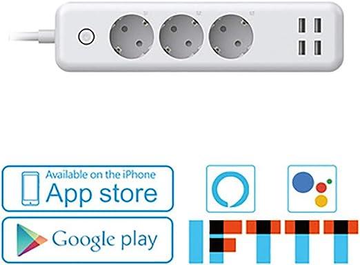 Mixue Multiprise Connect/ée WiFi//Prise Intelligente Connect/ée,avec  Alexa//Google Home//IFTTT pour la,T/él/écommande et Commande Vocale