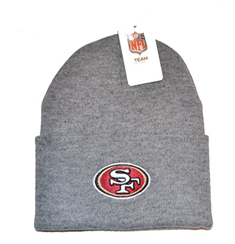 Reebok Embroidered Cap (San Francisco 49ers Gray Beanie Hat - NFL SF Grey Cuffed Knit Toque Cap)