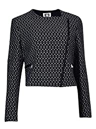 Anne Klein Women\'s Optical Jacquard Moto Jacket, Black/White, 16