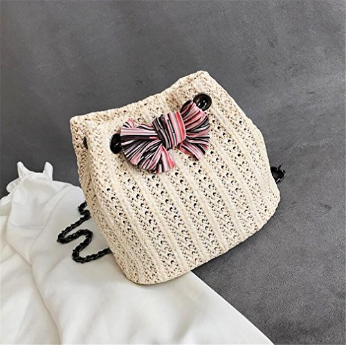 Summer Handbag Shoulder Travel Straw On Elegence bianco Bag e Beach Bag Ladies The z uso quotidiano 548qT