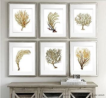 Charmant Sea Coral Sea Fan Set Of 6 Unframed Wall Art Beach Decor Art Prints