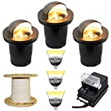 Low Voltage LED 3 In Ground Uplight Landscape Lighting Kit - PGC3 (Bronze - Brass Eyebrow)
