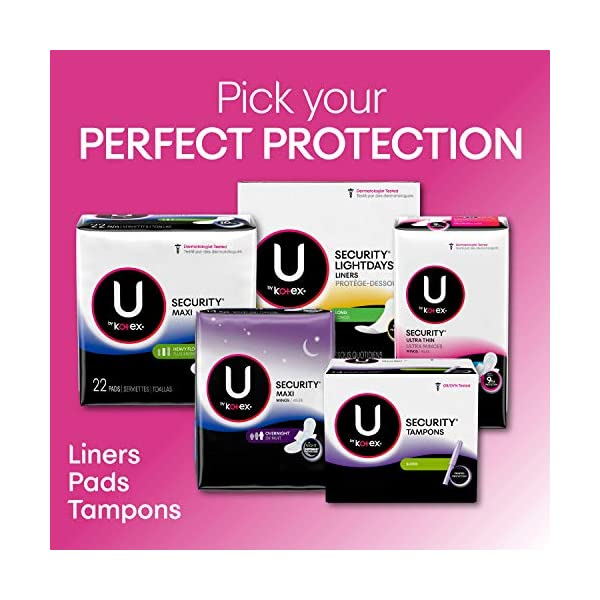 U by Kotex Security Ultra Thin Feminine Pads, Regular, Unscented, 176 Count (4 Packs of 44) (Packaging May Vary)