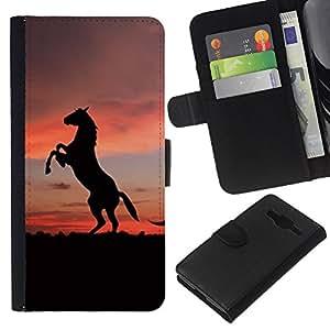 JackGot ( Simpatici animali cavallo ) Samsung Galaxy Core Prime la tarjeta de Crédito Slots PU Funda de cuero Monedero caso cubierta de piel