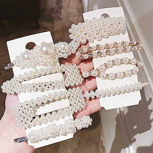 Pearl Hair Clips For Women Girls 8 Pieces Fashion Artificial Clips Pearl Barrettes Bling Snap Hair Pins Decorative Hair Accessories for Party Wedding Daily Vintage Style Hair Clips -
