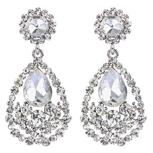 BriLove Women's Bohemian Crystal Wedding Bridal Teardrop Cluster Dangle Chandelier Earrings Clear Silver-Tone (Austrian Crystal Fancy)