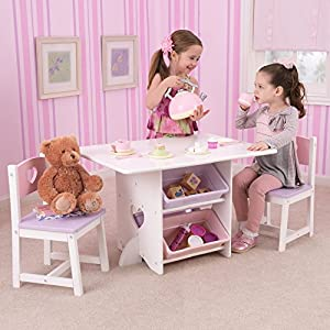 KidKraft Heart Table Set with Pastel Bins – 26913