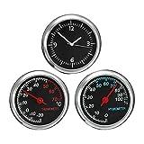 Car Hygrometer Hygrometer, Mini Car Dashboard Small Analog Quartz Clock, Thermometer&Hygrometer Gauge Monitor Kit Accessories(Black)