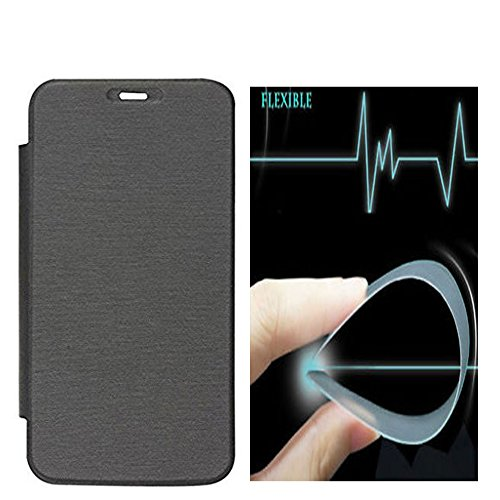 Johra Synthetic Flip Cover Case with Unbreakable   Anti Shock Impossible Glass Screen Protector for Oppo F1