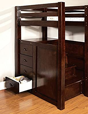 247SHOPATHOME IDF-BK966-TR452 Bunk-Beds, Twin/Twin, Walnut