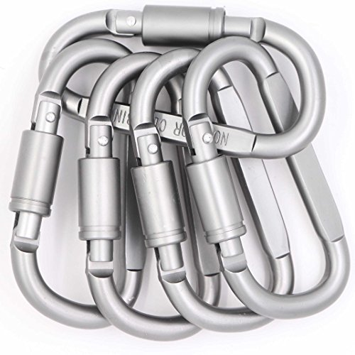 (Large Carabiner Clip 3 Inch D-Ring Locking Carabiners - 5 Pack Durable Aluminum Keychain Buckle, Strong & Light Spring Snap Screw Gate Hooks Quick Draw Links For Outdoor Camping Hiking Fishing (5pcs))