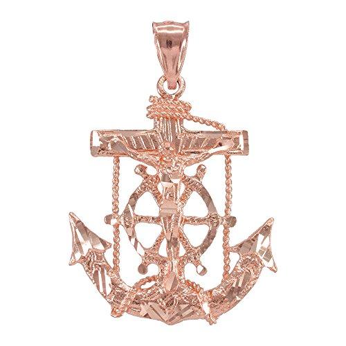 Collier Femme Pendentif 10 Ct Or Rose Marin Crucifix Croix Ancre (Livré avec une 45cm Chaîne)