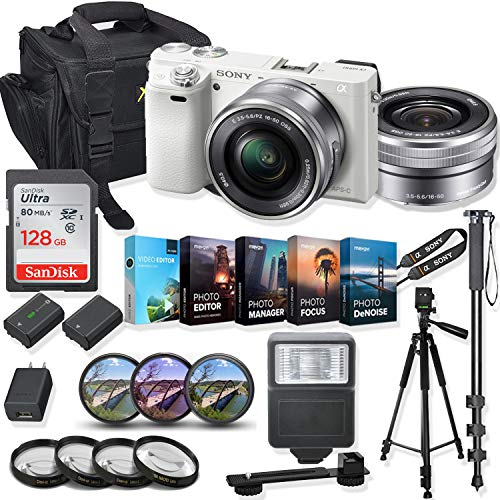 Sony Alpha a6000 Mirrorless Digital Camera 16-50mm f/3.5-5.6 OSS Lens Kit + Prime Accessory Bundle with 128GB Memory & Photo/Video Editing Software - White