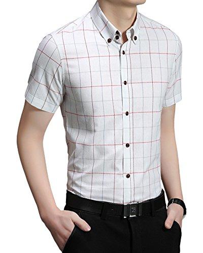 Gobuye ワイシャツ クラシック チェック 半袖 シャツ ボタンダウン オシャレ ネルシャツ ファッション メンズ カジュアル 181 (ホワイト, M)