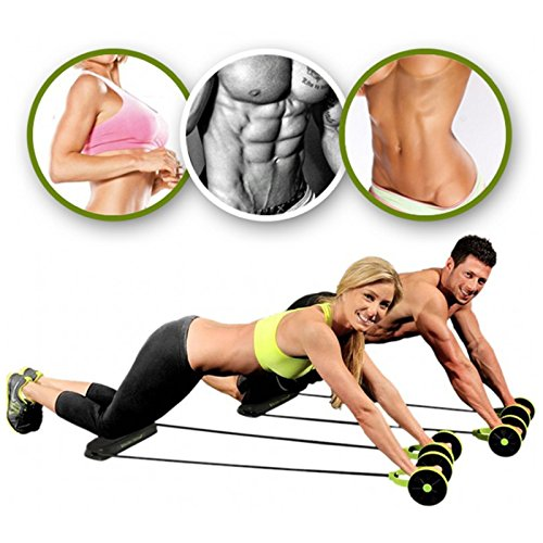 (Forfar 1Pc Dual Wheels Roller Sports Stretch Elastic Abdominal Resistance Pull Rope Belly Slimming Gym Fit Exercise Training Tool)