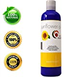 Hair Growth Home Remedy Pure Sunflower Oil Moisturizer for Face Body and Hair Cold Pressed Essential Oil Carrier for Aromatherapy Massage Anti Wrinkle Dry Skin Facial Cleanser Serum and Daily Conditioner for Hair Growth