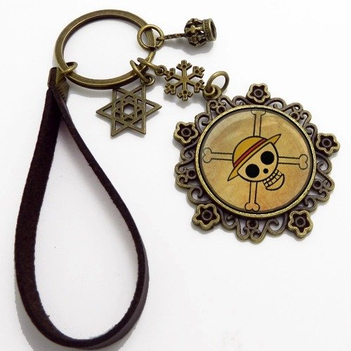 Sytian® High Quality Vintage Style Handmade Straw Hat Pirates Skull Logo Keychain Key Ring / DIY Pendant Cute One Piece Gifts Crafts