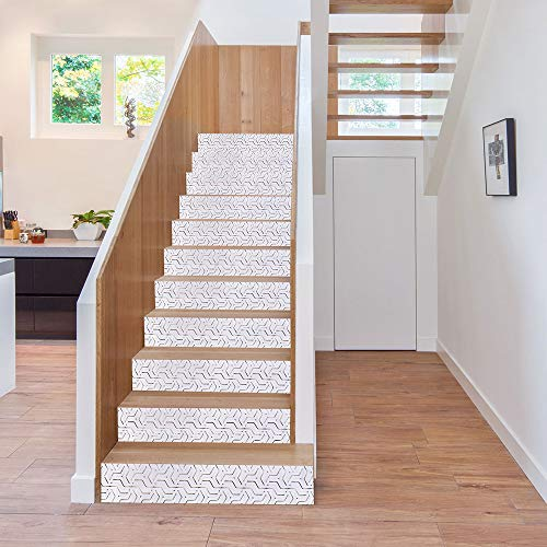 "CoCo Living Stair Stickers Peel and Stick Staircase Tiles Decals Stair Riser Stickers Self-Adhesive Backsplash Tiles Decals Removable, 7""x39"", 6 Pcs/Set, White Lines"
