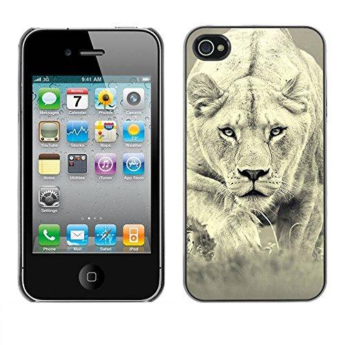 Housse Coque Étui de protection Anti-Scratch Effacer pour Apple Iphone 4 / 4S / Business Style Fierce Lion Big Cat Tiger