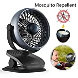 Houselog Clip-on Stroller Fan, Mosquito-Repellent, Essential-Oil-Diffused and Rechargeable Battery-Operated Accessory for Urbini, Uppababy, Graco, Britax, etc.