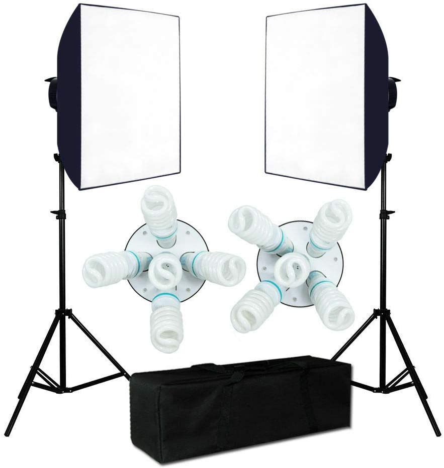 oldzon 2250W Photography PhotoStudio Video Continuous Lighting Softbox Light Stand Kit with Ebook