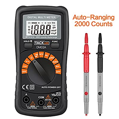Tacklife DM02A Classic Digital Multimeter Auto-Ranging Non Contact Voltage Multi Meter with LCD Backlight Volt Amp Ohm Diode and Continuity Test