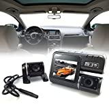 i1000 HD 1080P Dual Lens Camcorder Car DVR Dash Cam Black Box Rear View Camera 140 Degree 1/4 inch color CMOS HD 720P Wide Angle Motion Detection G-Sensor Video Out Full HD