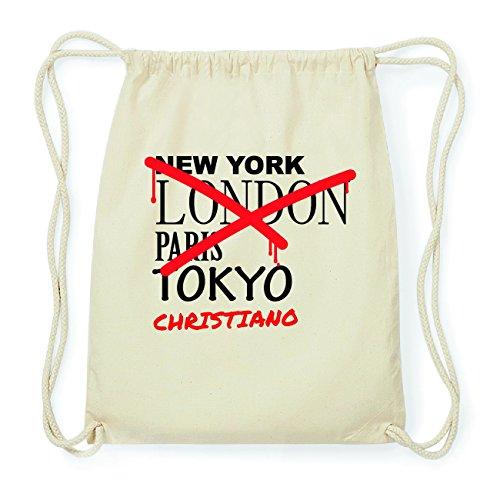 JOllify CHRISTIANO Hipster Turnbeutel Tasche Rucksack aus Baumwolle - Farbe: natur Design: Grafitti