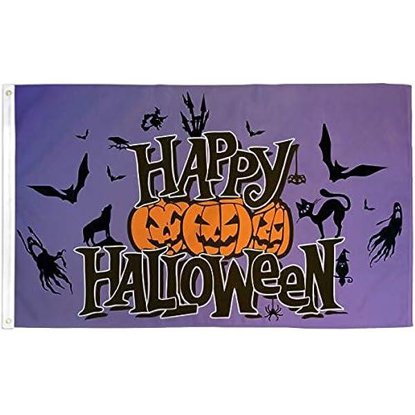 Happy Halloween Flag 3x5ft Purple Halloween Decor Halloween Pumpkin Flag
