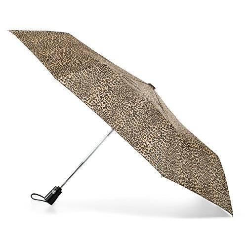 totes Automatic Open Close Water-Resistant Travel Folding Umbrella, Micro Leopard