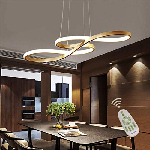 Dimmable 43W Pendant Light,Metal and Black Acrylic Lampshade Modern Design LED Musical Note Chandeliers Gold Color Painted Finish Voltage 110 V Remote Control Nature White and Warm White