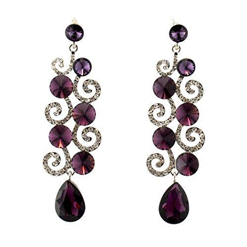 003-PURPLE Fashion Party & Wedding Jewelry Tear Drop Dangle Chandelier Alloy Rhinestone Earrings (Earrings Chandelier Wedding Rhinestone)