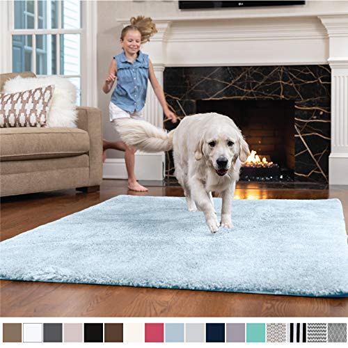 - GORILLA GRIP Original Faux-Chinchilla Nursery Area Rug, (4' x 6') Super Soft & Cozy High Pile Machine Washable Carpet, Modern Rugs for Floor, Luxury Shag Carpets for Home Bed/Living Room (Light Blue)