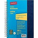 Staples 3 Subject Hard Back Notebook, 6-1/2' x 9-1/2' (Navy Blue)