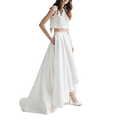 3587736631 Ivory Satin Women Skirt High Low Design with Short Train in Back Formal  Skirt XS