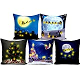5-Piece Set Plush Pillowcase Christmas Series Illuminate Plush Cushion Cover 45 * 45cm