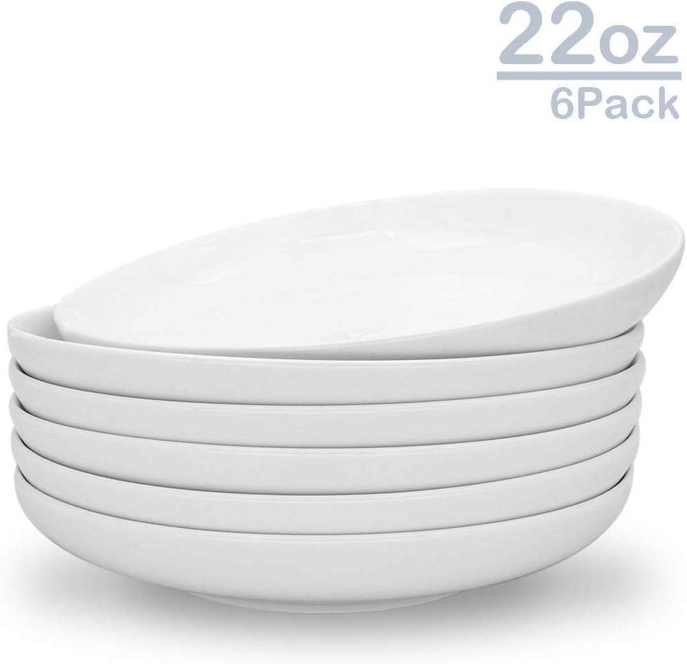 Zoneyila 8.5'' Porcelain Pasta Bowls, 22 Ounces Serving Bowl for Pasta, Salad, Soup Bowls, Set of 6, White