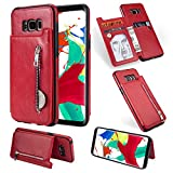 Zipper Wallet Case for Samsung Galaxy S8,Shinyzone Samsung Galaxy S8 Case with Money Pocket [One Magnetic Buckle] Premium Vintage Leather PU Flip Back Cover-Red