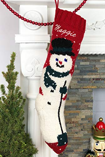 Personalized Hand Knit Mary Red Wool Snowman Chirstmas Stocking with Optional Personalization