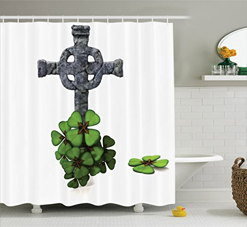 Ambesonne Celtic Decor Collection, Celtic Knot Pattern with Four Leaf Clover Decorative Floral Design Saint Patrick's Day, Polyester Fabric Bathroom Shower Curtain Set with Hooks, Grey Green