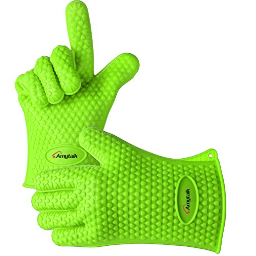 BBQ Gloves,Amytalk Heat Resistant Silicone BBQ Grill Oven Gloves for Cooking, Baking, Smoking & Potholder (Green) (Pure Silicone Grill compare prices)