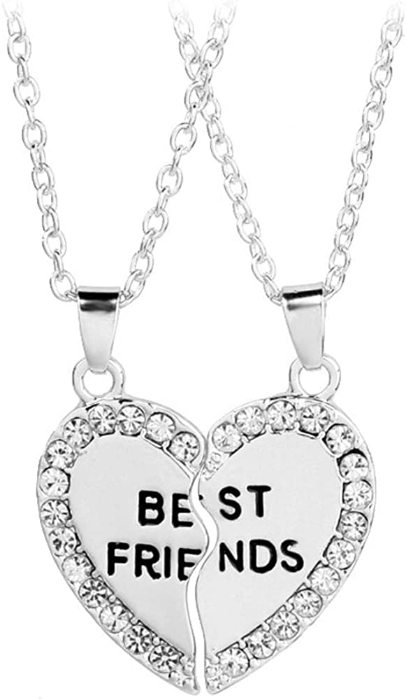 Art Attack Silvertone Broken Heart Pave BFF Best Friends Forever 2 PC Pendant Necklace Gift Set