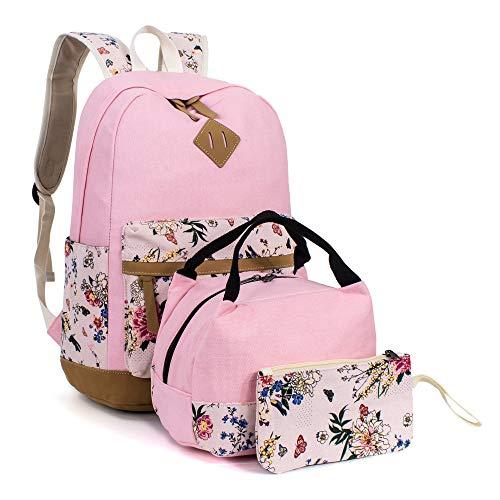 Leaper Floral Laptop Backpack School Bag Daypack Bookbag Lunch Bag Purse Pink