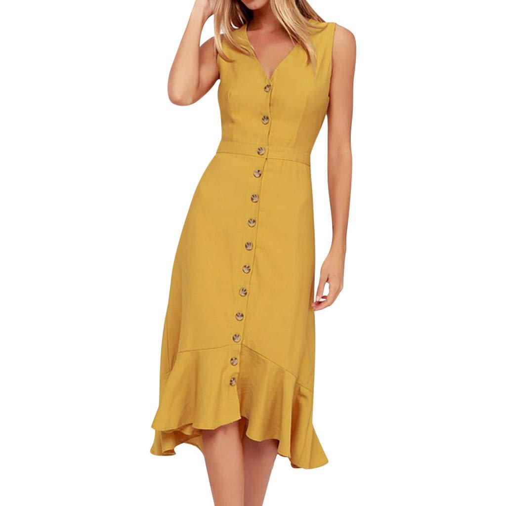Women Tight Tank Midi Dress | Ladies Elegant Button Down Ruffle Patchwork Hem Pencil Dresses | Back Hollow Out Sleeveless Dress