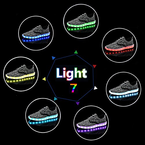 Women Color USB With Fabric Noctilucent Top Remote 7 Control Low Sneakers Sport Flashing Charge KEALUX Shoes Lace Pink Up Breathe Men LED AwFYBWq