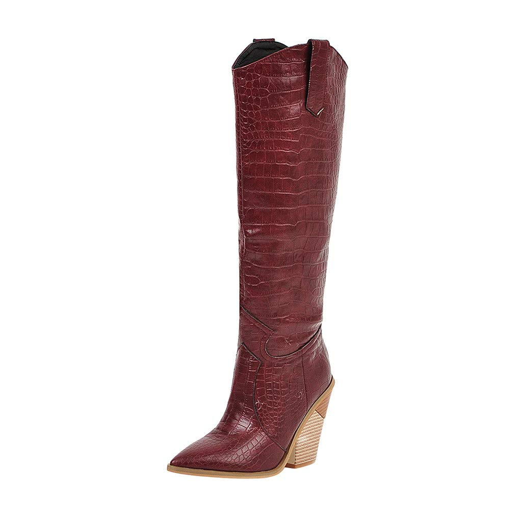 Leadmall-Boot Women Knee-High Riding Boots | Ladies Stylish Wedges Heels Pointed Toe Booties | Winter Comfortable Wide Width Pointed Toe Western Cowboy Boots by Leadmall-Boot